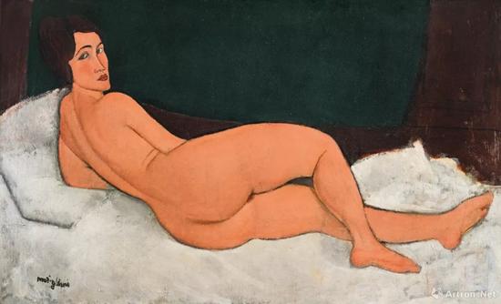 亚美迪欧·莫迪利亚尼(Amedeo Modigliani)《向左侧卧的裸女》89.5x 146.7cm 1917年作