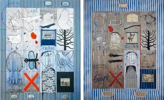左:比利时艺术家西尔万的作品,1990 右:叶永青的作品,1994