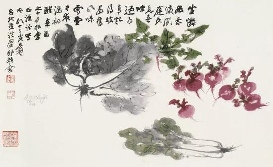 张大千,百财图,丝网版画,42cm×69.5cm