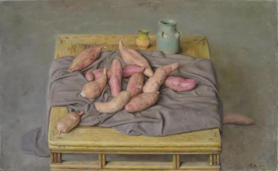 方桌红薯 布面油画 80×130cm 2017年