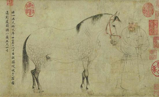 李公麟《五马图》局部东京国立博物馆藏