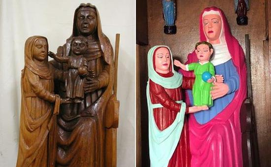 修复前以及修复后的圣母圣子暨圣安娜雕像。图/取自El Comercio。