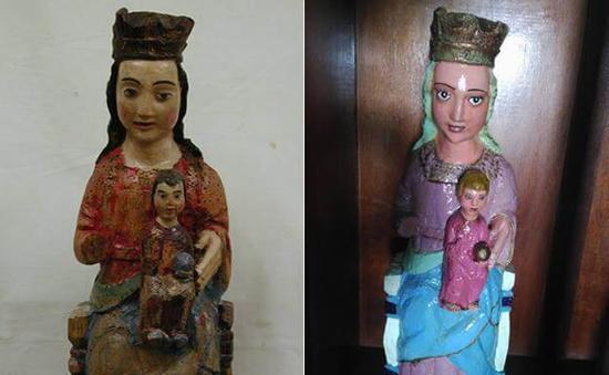 修复前以及修复后的圣母玛利亚及婴儿耶稣雕像。图/取自El Comercio。