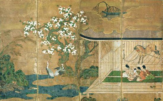 《厩图屏风(局部)》,室町时代·16世纪,冈崎正也氏寄赠