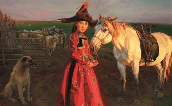 草原美丽的传说 布面油画 81X130cm 2013年