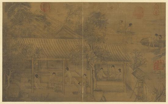 传 宋 刘松年 《蚕事图》台北故宫博物院藏