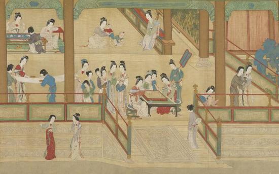 仇英《汉宫春晓图》(局部) 台北故宫博物院藏
