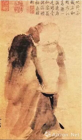 梁楷 《泼墨仙人图》 轴纸本 水墨 48.7×27.7cm 中国台北故宫博物院藏
