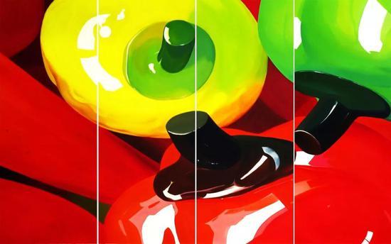 杨国辛 《好果子》 布面油画 280cm×145cm×4 2006