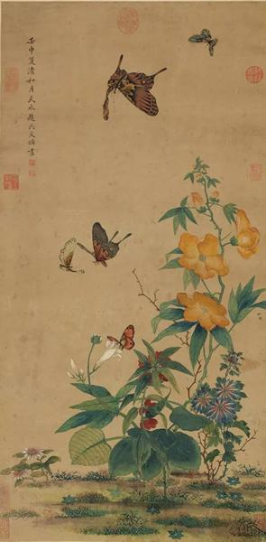 """明 文俶《花蝶清影》,设色纸本 镜片,86.4 x 43.2 cm。,1632年作。估价:50,000 - 100,000美元。将于3月19日在佳士得纽约""""中国书画""""拍卖中呈献"""