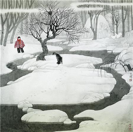 《远离尘嚣》之一 80×80cm 绢本设色 1988年