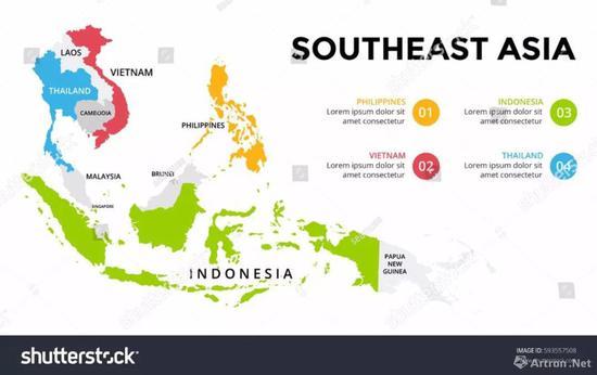 ▲ 东南亚地图