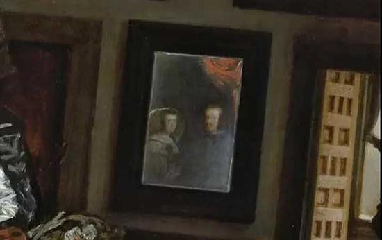后方正中的镜中,映出腓力四世及其皇后奥地利的玛丽安娜