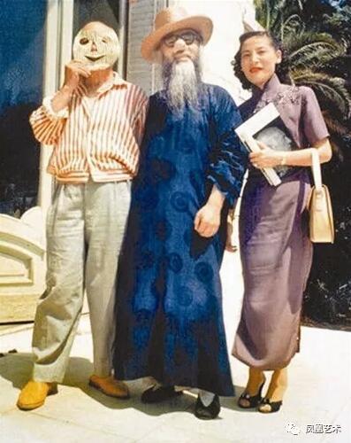 张大千夫妇与毕加索合照