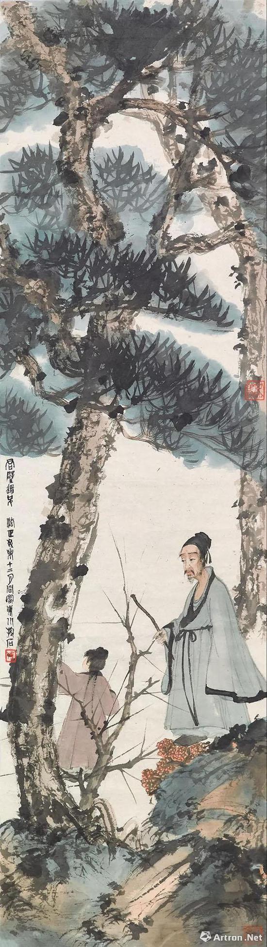 傅抱石《松下问童子》 108.5×31cm1943年作