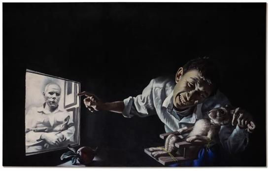 王?#23435;啊?#20820;子的证词》一九九五年作油画画布125.5 x 200公分3,000,000- 5,000,000港元