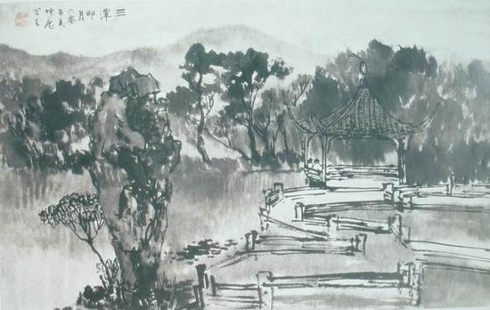 顾坤伯,《三潭印月》,36x56.7cm,1960年