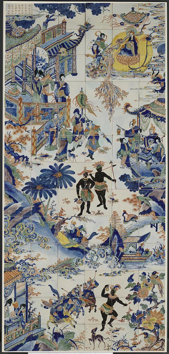 青花釉上彩中国风与黑人纹饰壁砖 荷兰国家博物馆藏