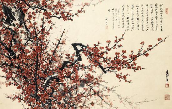 董寿平 《红梅颂》 67.5×104cm 纸本设色 1973年 清华大学艺术博物馆藏馆藏
