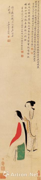 清 改琦《宫娥梳髻图》 纸本设色 纵88.2厘米 横20.4厘米 北京故宫博物院藏