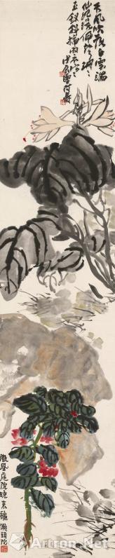 西泠印社2017秋拍 潘天寿 小庭秋卉图 设色纸本?镜片 133×28cm 1928年作 款识:1。天风吹落白云端,仙妃环佩声珊珊,玉钗斜插羽衣寒。戊辰夏,阿寿。钤印:1。阿寿(朱)?天授小玺(白) 2。微风庭院晚来秋,懒头陀。钤印:天授之印(白) 说明:本拍品为潘天寿于1928年所作,此年潘天寿定居杭州,并担任国立艺术院中国画主任教授。