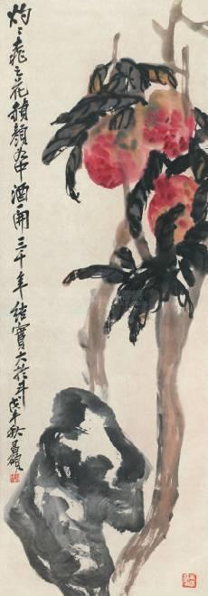 寿桃,立轴纸本,吴昌硕,1918年作