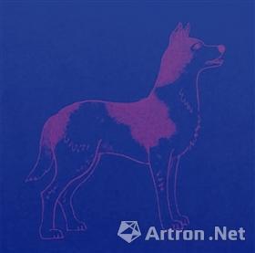 图10-2 小本票封底在紫外灯下显示的狗荧光防伪油墨效果
