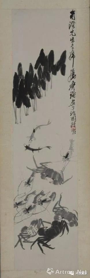 《墨笔虾蟹图轴》