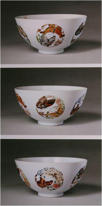 清雍正 粉彩团蝶纹碗