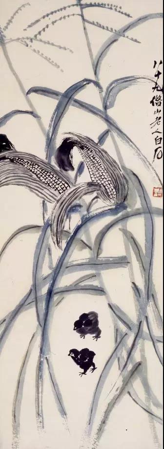 《玉米小鸡》齐白石纸本设色1949 徐悲鸿纪念馆藏