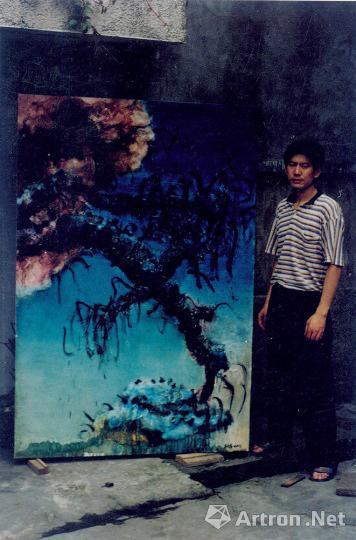 """周春芽1993年创作的""""树枝""""系列作品"""