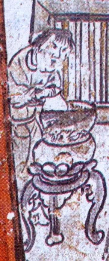 ▲山西阳泉东村元墓壁画中的温酒场景