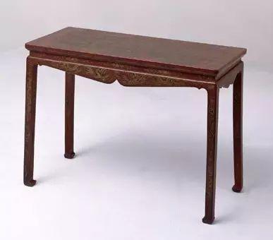红漆雕填戗金琴桌 高70cm,宽97cm,纵45cm