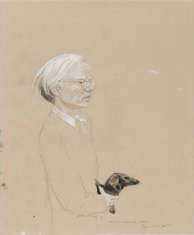 Jamie Wyeth,《安迪·沃霍尔与阿奇的肖像画》(Portrait of Andy Warhol with Archie)。图片:artnet价格数据库