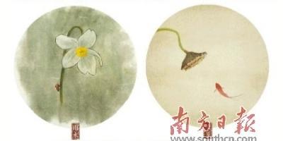 """林帝浣水墨国画版""""二十四节气图""""之雨水、夏至。"""