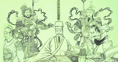 图为《梦斩泾河龙》画稿 付爱民 绘