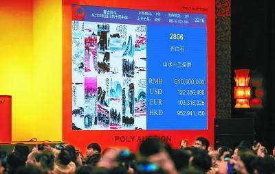 前晚,齐白石的《山水十二条屏》最终以8.1亿元落槌,加佣金9.315亿元成交,刷新全球中国艺术品拍卖纪录。 实习记者 武亦彬摄