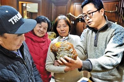 昨日,重庆楼兰古玉寻宝团团友聚在一起,玩赏比较各种金丝玉和玛瑙等奇石。 记者 杨新宇 摄