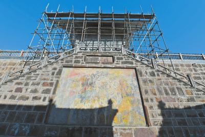 近期,北石窟寺正在进行部分修缮加固。