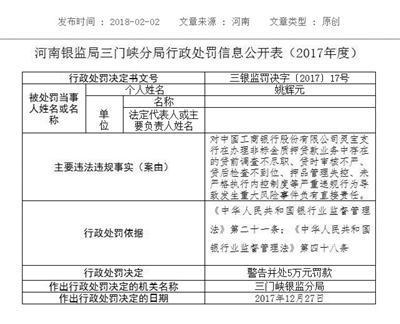 河南银监局三门峡分局对涉事银行开出的罚单。河南银监局官网截图