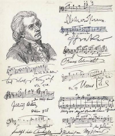 即将亮相拍场的九位20世纪著名作曲家联合签名的乐谱手稿。(资料图片)