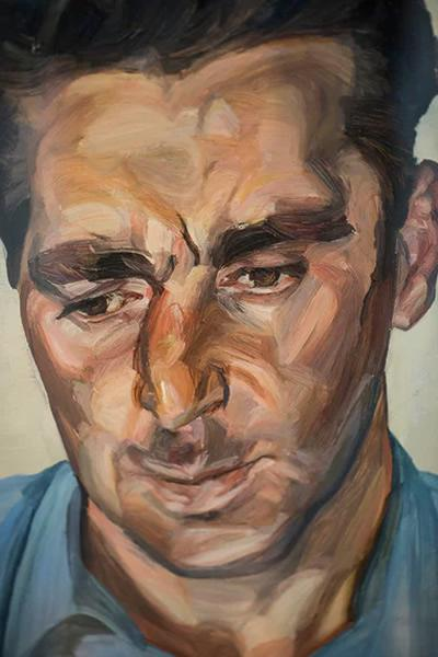 """弗洛伊德的作品""""穿蓝色衬衫的男人""""细节。照片:《英国卫报》David Levene"""