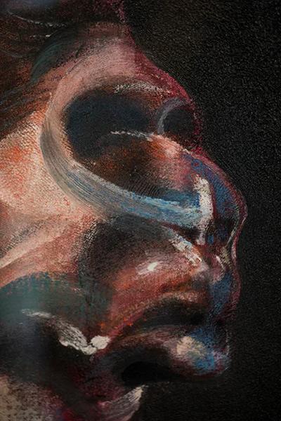 """弗朗西斯-培根的作品""""乔治-戴尔肖像三习作""""细节。照片:《英国卫报》David Levene"""