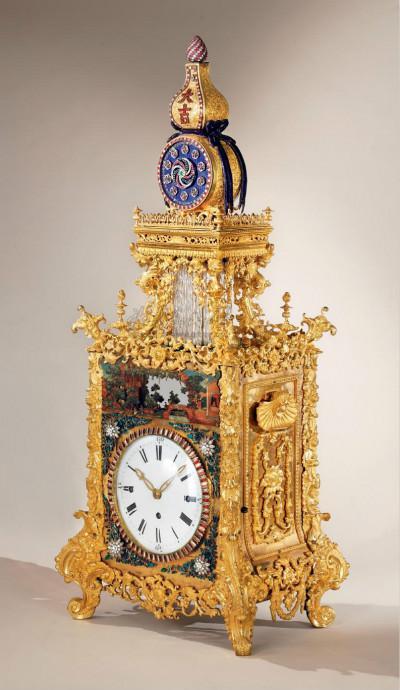 清乾隆 御制铜鎏金转花转水法大吉葫芦钟