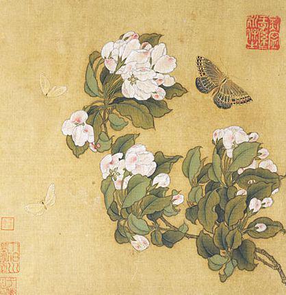 宋 《海棠蛱蝶图》