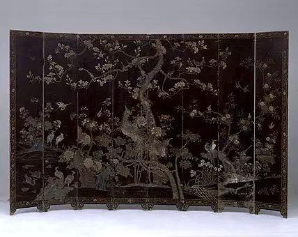 黑漆款彩百鸟朝凤图围屏 清早期  高218.5cm,长351cm