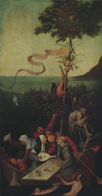 《愚人船》(Theshipoffools,木板油画,1500年左右,现藏巴黎卢浮宫)。