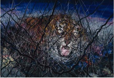 曾梵志,《老虎》,2011,油彩 画布,241 x 350 厘米 / 94 7/8 x 137 7/8 英寸。? 曾梵志,图片:曾梵志,豪瑟沃斯