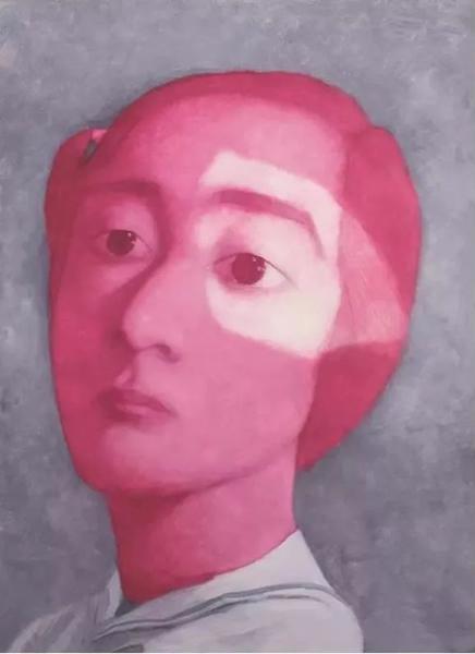 张晓刚 红色女孩 2005年 纸本油画
