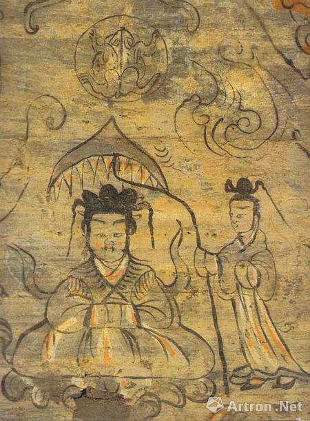 《酒泉十六国墓壁画》西王母细部